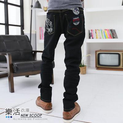 字母拼接布章後口袋伸縮小直筒牛仔褲(黑色) 樂活衣庫【6746】
