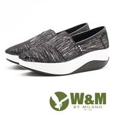 W&M BOUNCE星軌紋路 厚底休閒女鞋-黑(另有金)