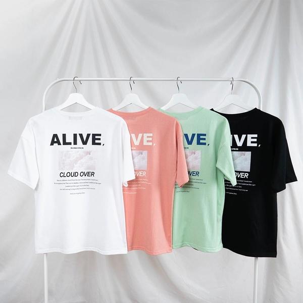 韓國女裝 Alive撞色拼字圖案短袖上衣【C1026】
