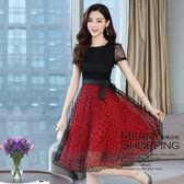 洋裝 蕾絲拼接網紗連身裙-媚儷香檳-【D1034】