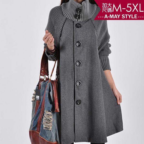 加大碼外套/大衣-韓版中長款毛呢排釦針織斗篷(M-5XL)