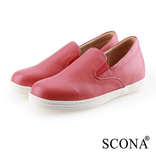 SCONA 蘇格南 全真皮 樂活內增高樂福休閒鞋 紅色 7325-3