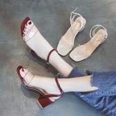 水晶涼鞋  夏季chic露趾透明涼鞋仙女中跟百搭一字扣方頭粗跟高跟鞋 唯伊時尚