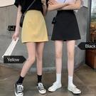 2020春秋新款高腰顯瘦包臀裙黑色短裙BM赫本風裙子A字半身裙女夏