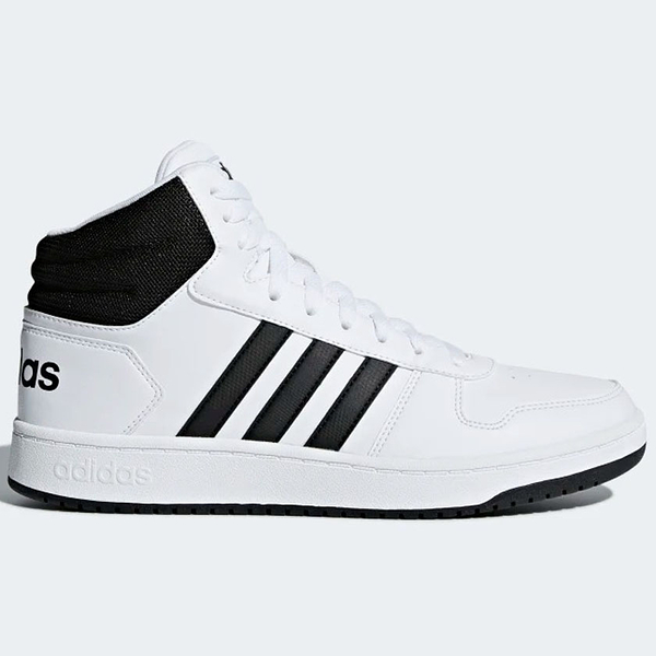 ADIDAS HOOPS 2.0 MID 男鞋 籃球 中筒 緩震 復古 皮革 白 黑【運動世界】BB7208