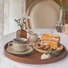 ins日式圓形木托盤茶盤咖啡廳茶水盤點心盤家用收納盤餐盤蛋糕盤