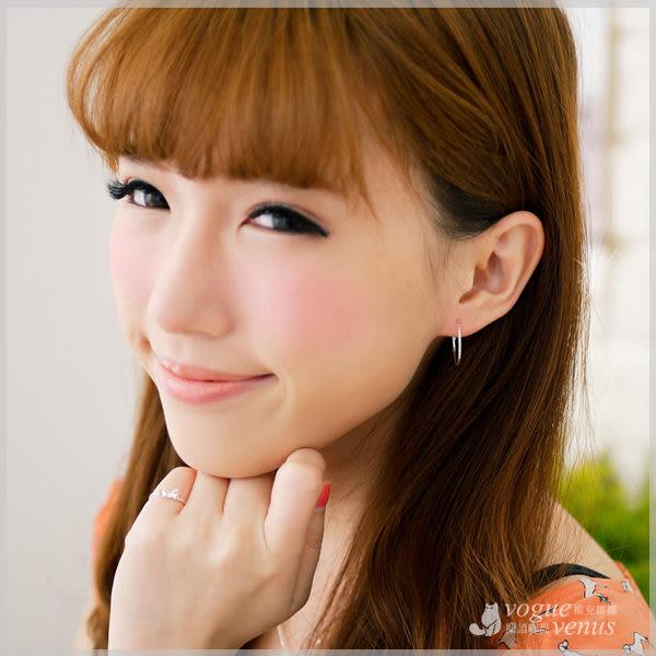 一抹優雅 基本款細緻刻紋圈圈耳環 20mm 925純銀耳環 - 維克維娜