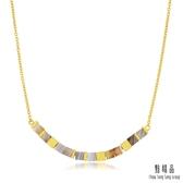 點睛品 g*collection系列 時尚方形幾何瑪瑙純金項鍊