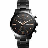 FOSSIL Townsman 城區計時手錶-鍍黑/45mm FS5379