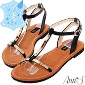 Ann'S水洗牛皮-肌膚打光版T字軟金屬寬版平底涼鞋-黑