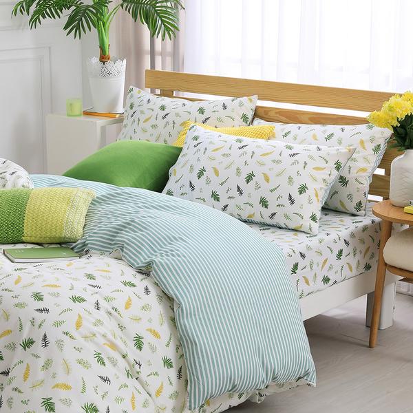 鴻宇 雙人兩用被套床包組 100%精梳純棉 小葉子 台灣製2155