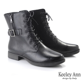 ★2019秋冬★Keeley Ann極簡魅力 金屬釦側拉鍊綁帶全真皮短靴(黑色)