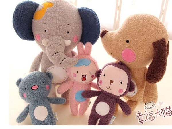【現貨】【25公分】森林家族 卡通森林動物 大象 小狗 猴子 兔子 小熊 絨毛娃娃 玩偶 抱枕 禮物