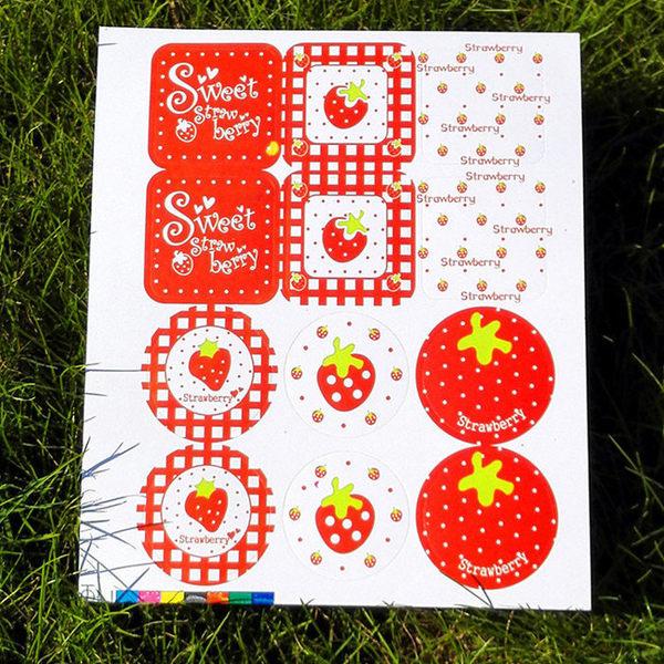【發現。好貨】「優惠買一送一」韓國草莓封口貼紙 烘焙貼紙 裝飾貼紙 禮物包裝貼紙 12枚