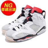 【US9-NG出清】Nike Air Jordan 6 Retro Tinker 左鞋頭擦傷 白 紅 籃球鞋 AJ6 男鞋 運動鞋【PUMP306】