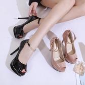 高跟鞋女 魚口鞋 秋季新款歐美高跟鞋細跟防水臺魚嘴性感單鞋韓版女鞋子【多多鞋包店】ds4055