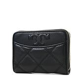 美國正品 TORY BURCH 衍縫幾何小羊皮拉鍊鑰匙零錢包-黑色【現貨】