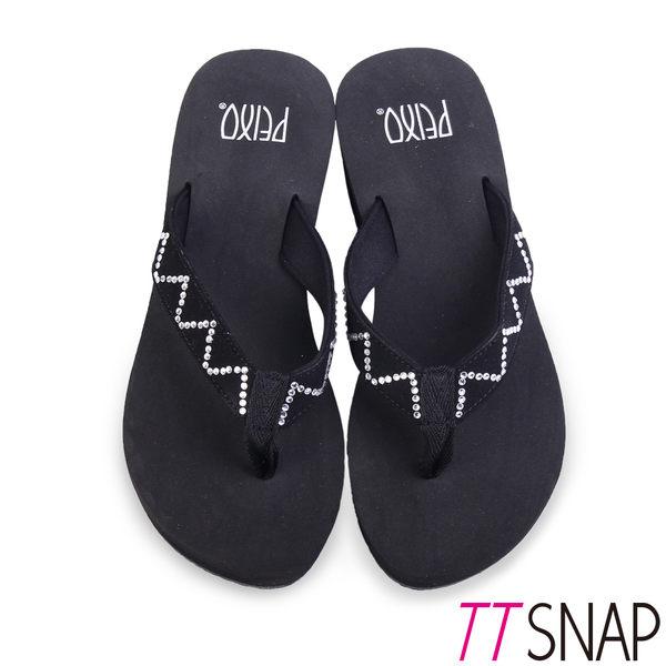 涼拖鞋-TTSNAP MIT修長顯瘦W型夾腳中跟涼拖 黑/藍