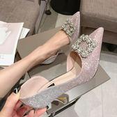高跟鞋女春季新款韓版百搭亮片漸變銀色尖頭細跟水鑽方扣婚鞋