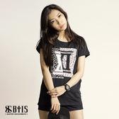【BTIS】拼接圓領T-shirt / 黑色