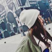 秋冬兔毛冬帽白色毛絨帽子女冬毛線帽冬天潮百搭韓版時尚包頭冬季     韓小姐