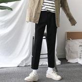 【全館八九折】正韓春夏款純黑顯瘦修身休閒九分褲英倫西裝小直筒小腳褲男