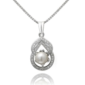 項鍊 925純銀 珍珠吊墜-鑲鑽唯美生日情人節禮物女飾品73dh38【時尚巴黎】