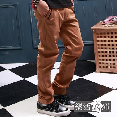 雅痞風滾邊口袋斜紋布休閒長褲(共二色) 樂活衣庫【P361】