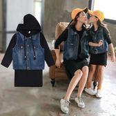 *╮S13小衣衫╭*親子款黑色連帽長袖T裙+牛仔背心套裝(媽媽款)1070822