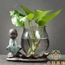 玻璃透明花瓶創意培花瓶插花容器花盆桌面裝...