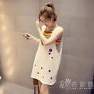 2021夏季新款韓版時尚小清新彩虹吊帶 牛仔背帶裙兩件套連身裙女 小時光生活館