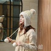 仙女帽子秋冬韓版毛線帽麻花毛球雷鋒帽針織帽可愛保暖月子帽女 扣子小鋪