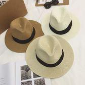 夏天英倫白色平檐寬檐女式草帽女士爵士帽禮帽遮陽帽子沙灘帽夏季