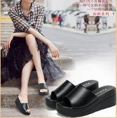 夏季女鞋韓版厚底拖鞋女夏時尚高跟涼拖一字拖外穿坡跟涼拖鞋『潮流世家』