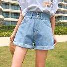 【GZ51】牛仔短褲 百搭高腰三粒扣須邊牛仔短褲