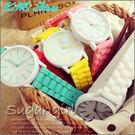 糖果樂園 鏤空指針果凍錶 繽紛夏日 中性大錶面 / Geneva / 馬卡龍色 / 兒童錶 / 女錶【KIMI store】