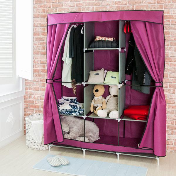 衣櫃 組合衣櫥-加固 超大加寬雙門三排防塵衣櫃  衣架 鞋櫃 收納櫃 置物架 衣物收納箱