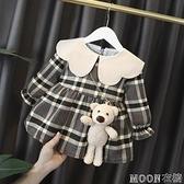 女童洋裝 女寶寶長袖加厚洋裝0秋1歲女童洋氣公主裙2嬰兒秋冬款格子裙子3 快速出貨