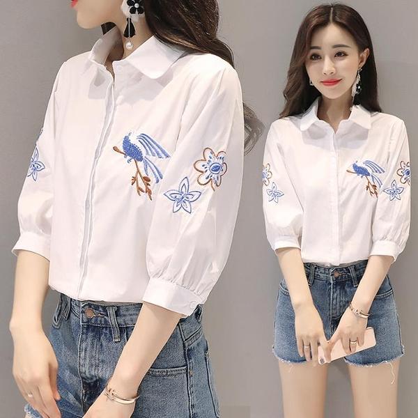 刺繡襯衫 洋氣白襯衫女短袖夏季民族風復古刺繡花寬鬆顯瘦 純棉襯衣-Ballet朵朵
