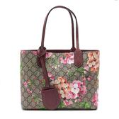【台中米蘭站】全新品 GUCCI 限定款花卉雙面用購物包-小(372613-紫紅)