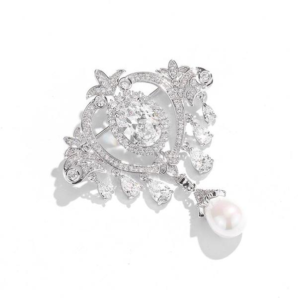 奢華人工鋯石胸針女配飾氣質高檔大氣西裝大衣禮服胸花別針扣裝飾