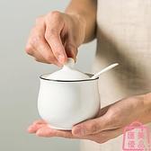 調味罐單個家用帶蓋陶瓷調味盒仿古辣椒油罐廚房收納【匯美優品】