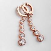 耳環 玫瑰金 925純銀鑲鑽-典雅閃耀生日情人節禮物女飾品2色73gs210【時尚巴黎】