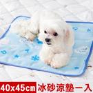 【奶油獅】雪花樂園-長效型冰砂冰涼墊/小寵物涼墊40x45cm藍色一入