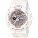 CASIO卡西歐Baby-G Chance系列交疊線條運動腕錶    BA-110CH-7A 白