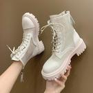 馬丁靴 網格馬丁靴女2021春夏新款系帶短靴平跟網面涼靴鏤空百搭透氣涼鞋 美物
