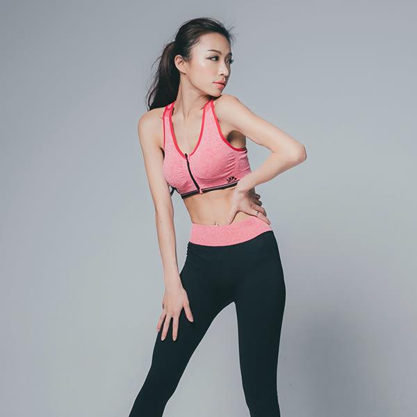 混色感前拉鍊小圖樣運動套裝 運動內衣 運動褲 運動背心 - 5色 (現+預)《生活美學》