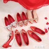 婚鞋女平底新娘鞋新款冬季紅色孕婦秀禾鞋紅鞋敬酒中式結婚鞋 芊惠衣屋