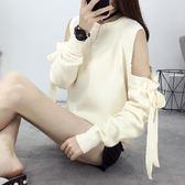 毛衣外套     長袖針織衫套頭露肩綁帶短毛衣女裝針織打底衫