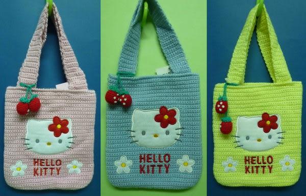 【震撼精品百貨】Hello Kitty 凱蒂貓~草莓小白花針織手提袋-直『粉/藍/黃』(共兩款)
